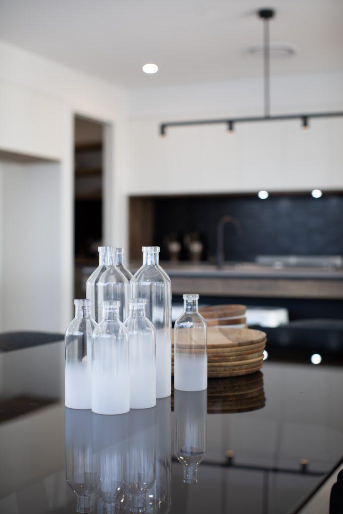 contemporary kitchen renovation bottles