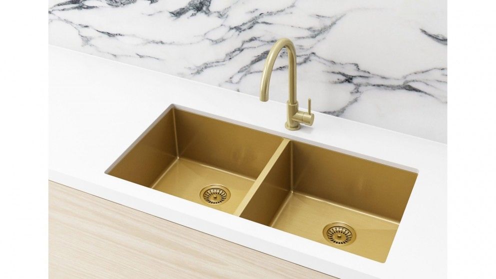 Gold double bowl sink for new kitchen renovation