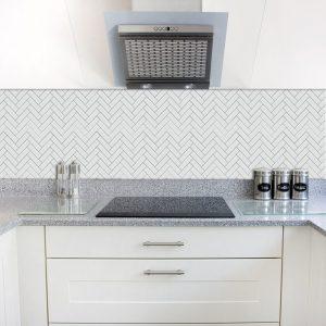 chevron tiles white in new kitchen renovation