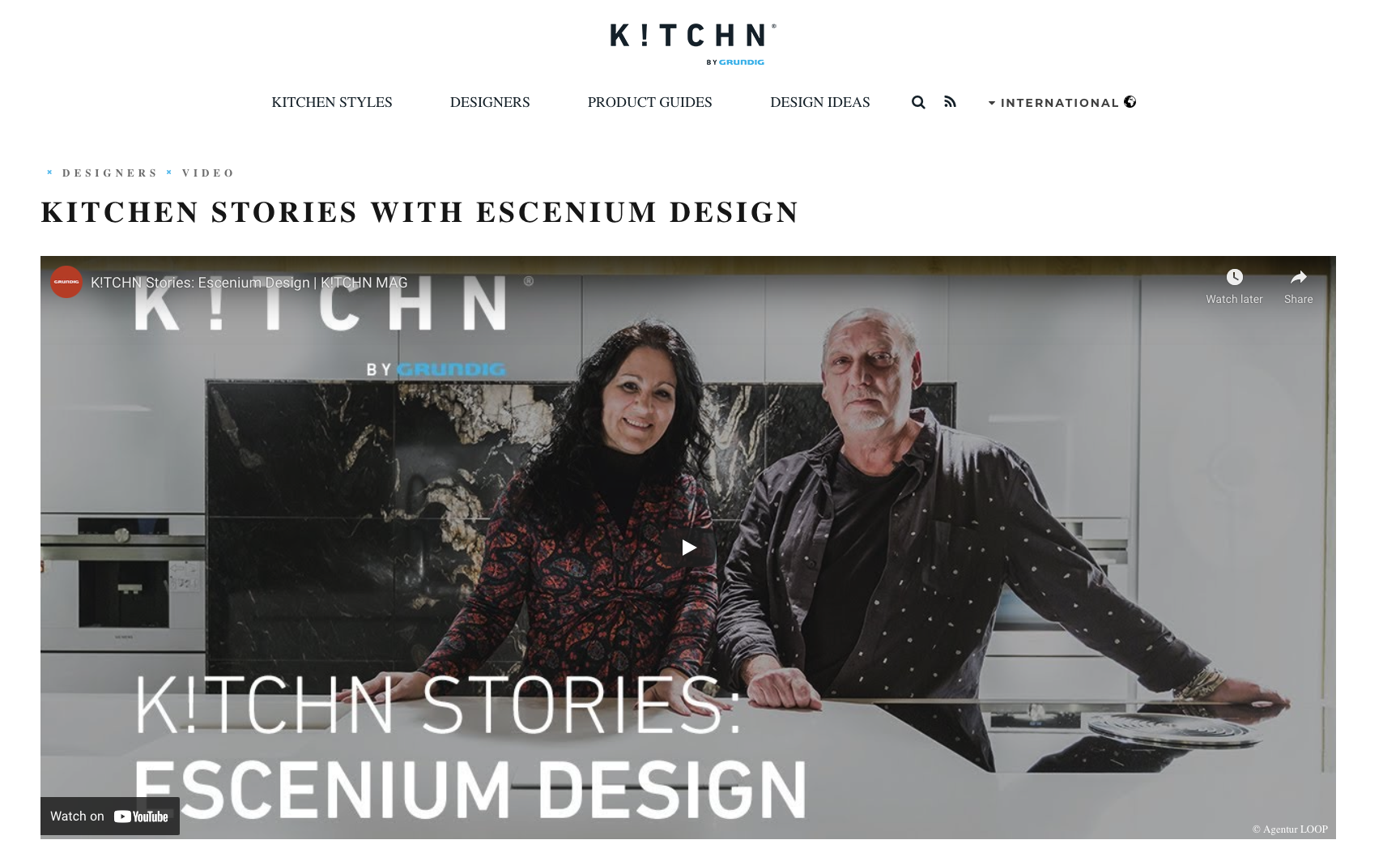 screen shot of kitchen mag websites