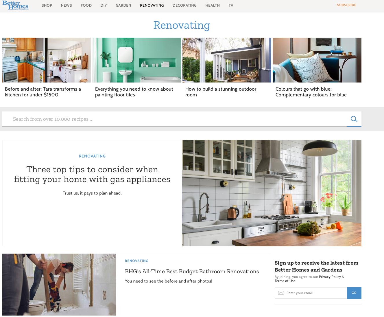 better homes and gardens website screenshot showing kitchen renovations blogs