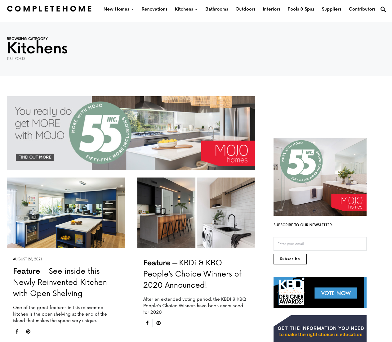 screenshot of the complete homes kitchen website page