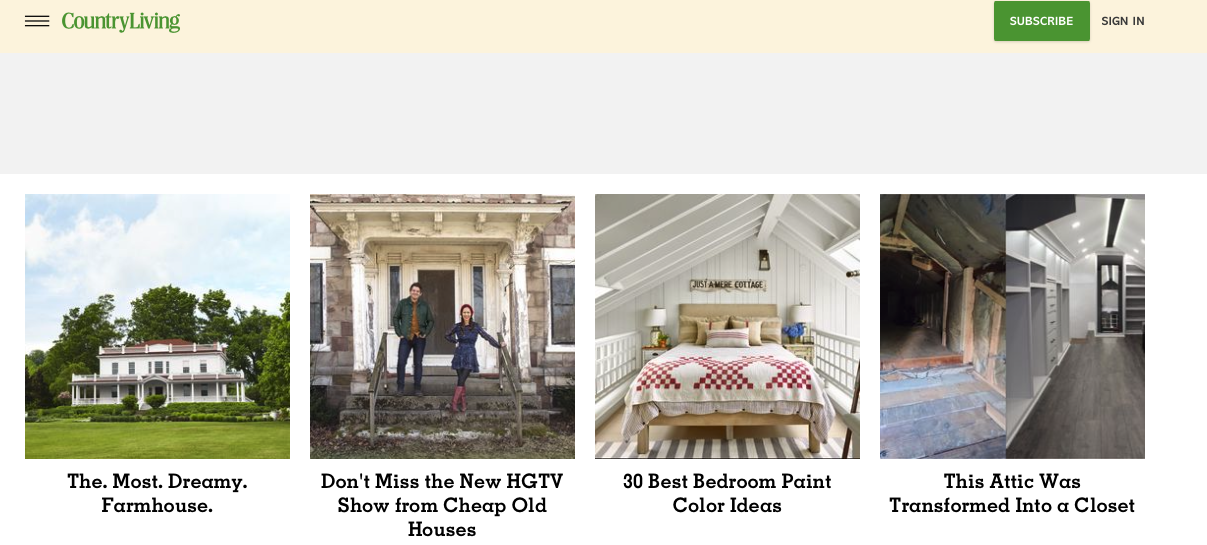 various renovation ideas screen grab from the country living website
