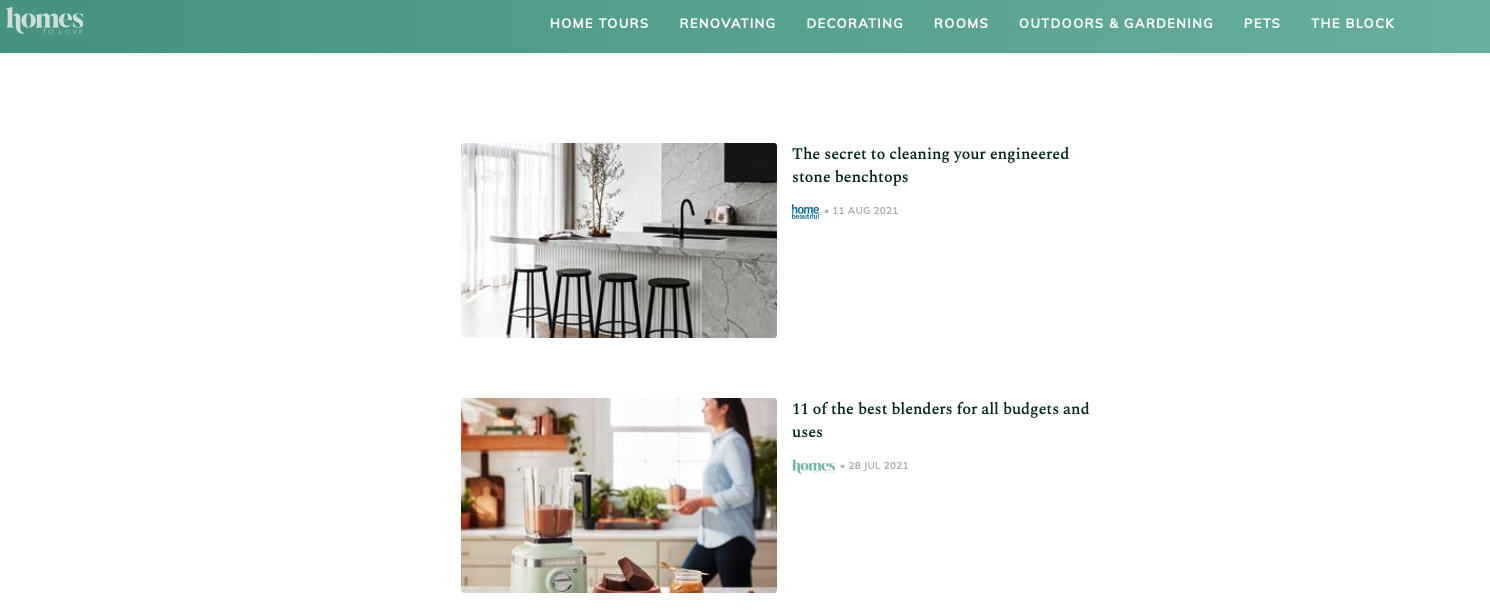 screen grab of the homes to love website showing kitchen renovation blogs