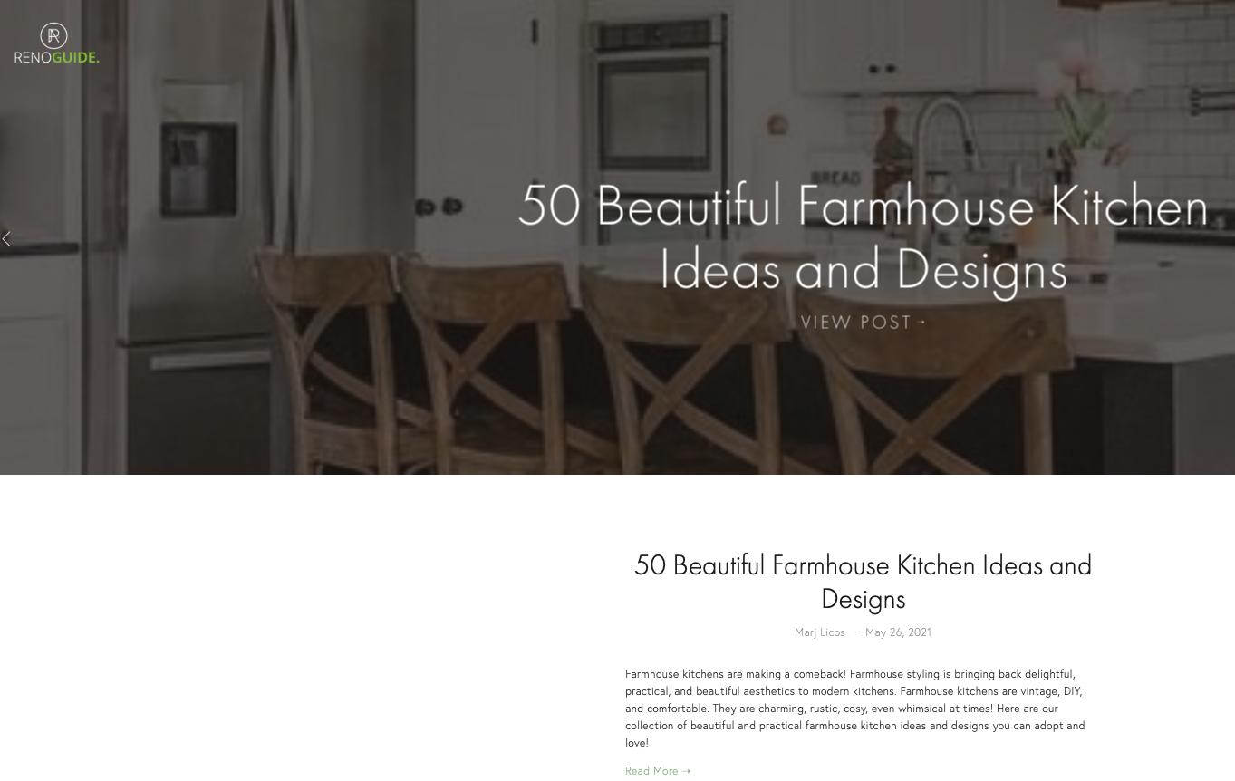 reno guide website screenshot showing kitchen ideas